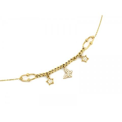 Celebrytka złota z łańcuszkiem i ozdobami z cyrkonii
