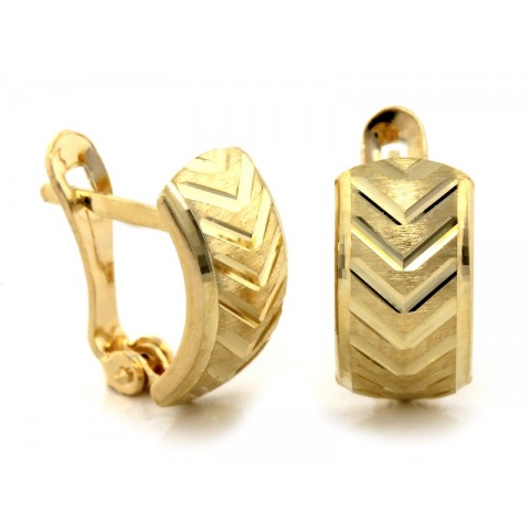 Kolczyki złote angielskie z z trzykolorowym wzorem