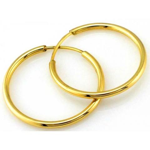 Kolczyki złote proste koła 22mm
