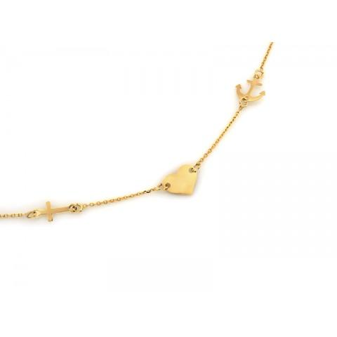 Naszyjnik złoty celebrytka serce kotwica krzyżyk
