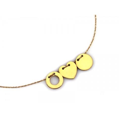 Naszyjnik złoty celebrytka z trzema elementami