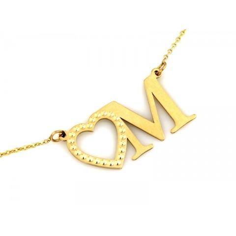 Naszyjnik złoty celebrytka z sercem i literką M