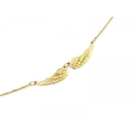 Naszyjnik złoty celebrytka z dwoma ażurowymi skrzydłami