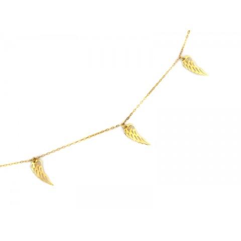 Naszyjnik złoty celebrytka z wiszącymi skrzydłami