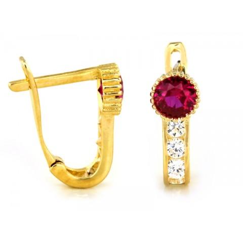 Kolczyki złote angielskie z różowym oczkiem