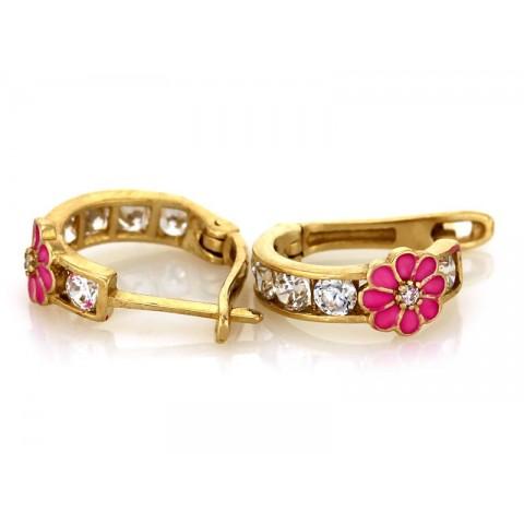 Kolczyki złote dla dziewczynki z różowym kwiatkiem