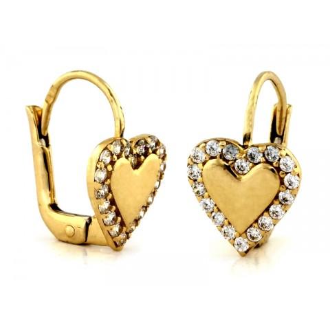 Kolczyki złote z sercem z cyrkoniami na angielskim zapięciu