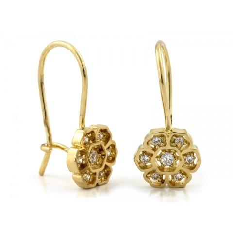 Kolczyki złote z kwiatkiem z cyrkoniami