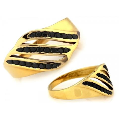 Pierścionek złoty z modnymi czarnymi kamieniami