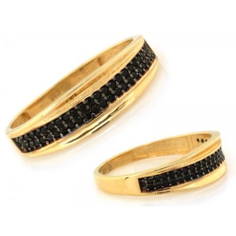 Pierścionek złoty obrączkowy z czarnymi kamieniami